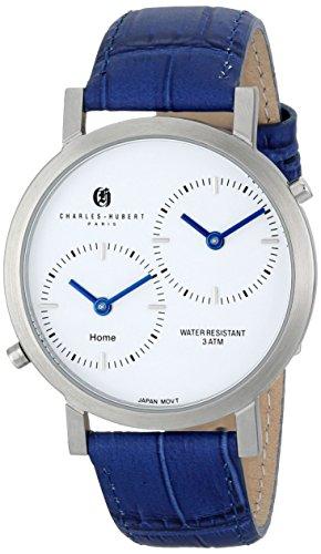 Charles-Hubert, Paris Unisex 3549-E Premium Collection Analog Display Japanese Quartz Blue (Womens Dual Time Watch)