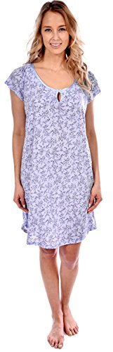 Patricia Women's Nightgown Short Sleeve Floral Print Sleepwear (Blue With Keyhole Cut-Out, L) (Keyhole Nightgown)