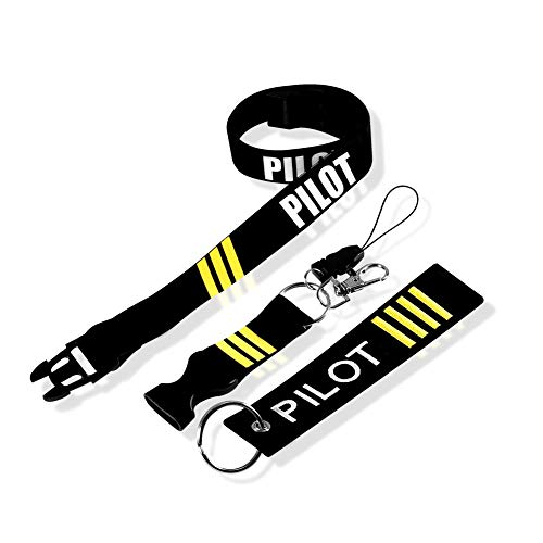 MELIFE Pilot Lanyard 3 Stripes with Detachable Safety Buckle Traveler Pilot Keychain Baggage Tag Set (The Brand With The Three Stripes Lanyard)