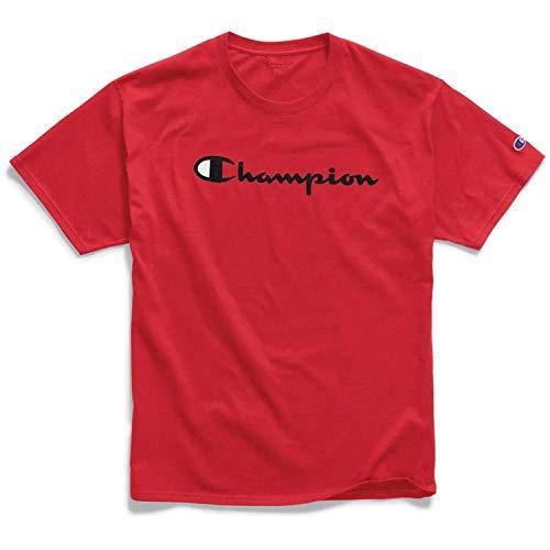 Champion Men's Classic Jersey Script T-Shirt, Scarlet, - Cap Baseball Champion
