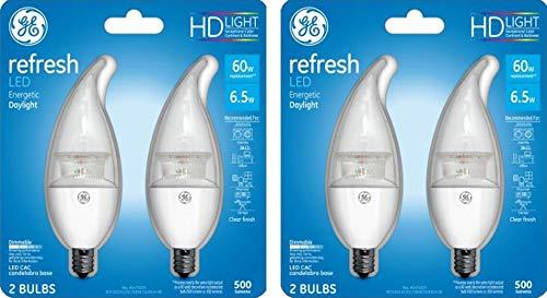 Base Incandescent Light Bulb Carded - General Electric Bulb Clear Shape HD Refresh LED Light Bulbs (60 Watt, Daylight, Candelabra Base, 4 Bulbs)