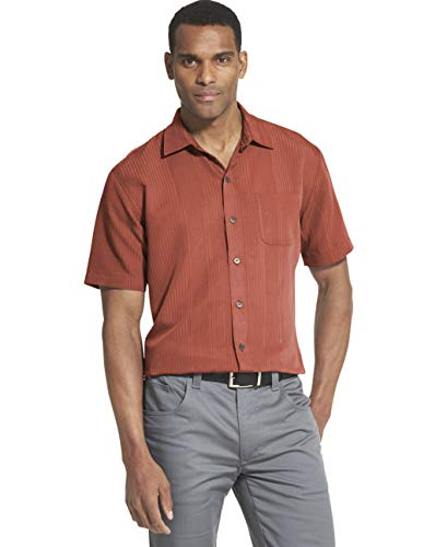 - Van Heusen Men's Air Short Sleeve Button Down Poly Rayon Stripe Shirt, red barn, Medium