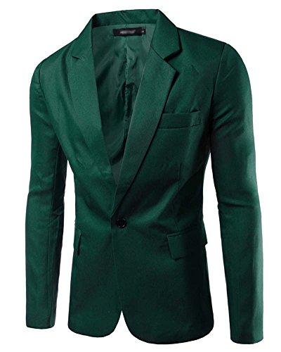 Blazer Manteau Jacket Vert Costume Bouton Homme Casual Slim Un Foncé Veste Elegant Premium Fit nC8wBPqA