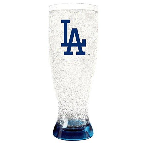 Flared Beer Pilsner Glass - Duck House 1 Pc, Los Angeles Dodgers Crystal Freezer Flared Pilsner, 16oz, Plastic Glass, Eye Catching Crystals, Color Coordinating Base