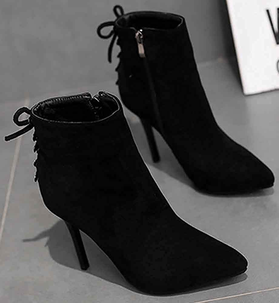 Elegant Party Faux Suede Booties Dressy Stiletto High Heels Unm Womens Pointed Toe Ankle Boots Zipper