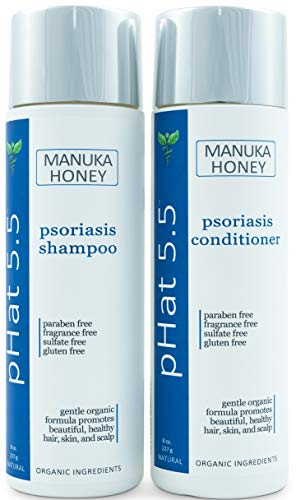 Psoriasis Shampoo and Conditioner Set for Dry and Itchy Scalp Treatment - Organic and Natural Formula - Gentle for Sensitive Skin with Manuka Honey and Aloe Vera - Sulfate and Paraben Free (8 oz)