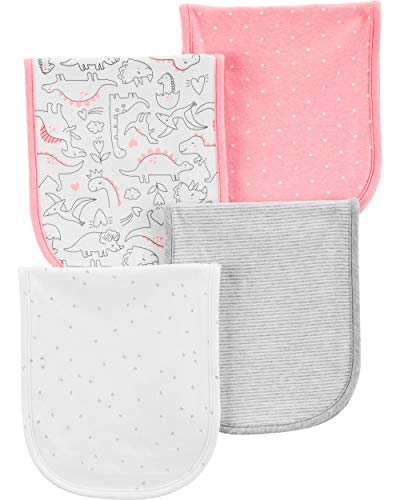 (Carter's Baby Girls 4-Pack Burp Cloths, Pink, One Size)