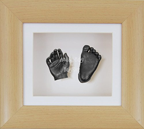 BabyRice 3D Baby Boy Casting Kit Beech Wood Effect Frame Pewter Foot Casts by BabyRice