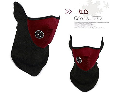 Red Sled Inc (3 color Unisex winter outdoor windproof fleece, half face guard, warm neck mask, scarf, ski, sled, sled, sport, motorcycle, scooter, filter, dust mask and more (Red))