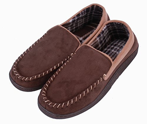 La Plage Heren Antislip Indoor / Outdoor Microsuede Moccasin Slippers Met Hardsole Browncamel