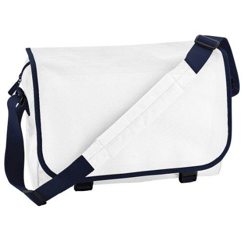 Bagbase - Bolso bandolera ajustable (11 litros) Blanco/azul marino