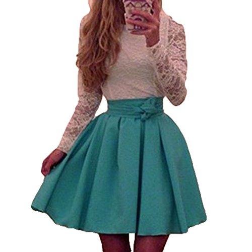 hibote abiti Elegante in skater Vestito da le donne lunga pizzo donna manica da Verde per IOd0xgqd