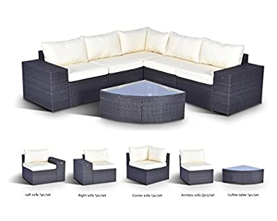 Gotland 6-Piece Set Furniture Sectional Sofa & Glass Coffee Table,with Washable Beige Cushions for Backyard,Pool,Patio| Incl. Waterproof Cover & Clips