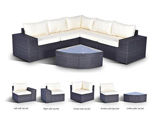 Gotland 6-Piece Set Furniture Sectional Sofa & Glass Coffee Table Washable Beige Cushions Backyard,Pool,Patio| Incl. Waterproof Cover & ()