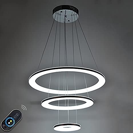Lightinthebox dimmable 46w led acrylic pendant light 3 rings chandeliers indoor home deco lighting fixtures with