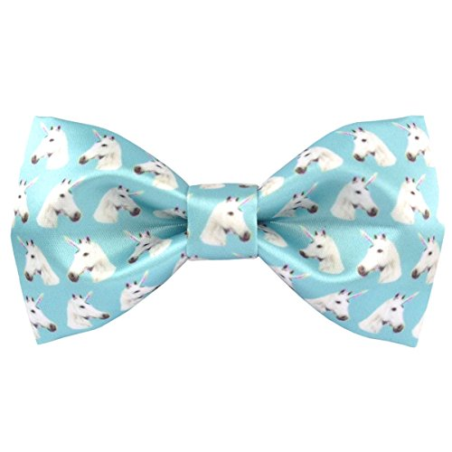 100% Satin Silk Mens Pre-tied Bowtie Solid Bow Ties-Animal Series (white horse blue)