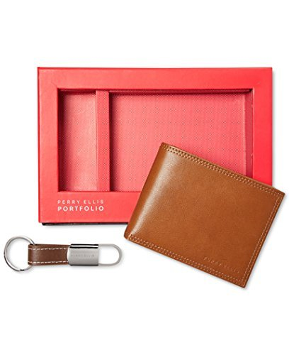 perry-ellis-wallet-fob-key-chain-gift-set-tan