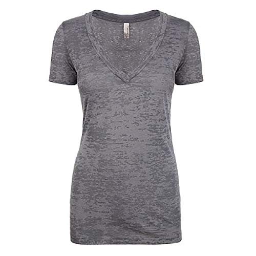 (Next Level Womens Burnout Deep V Tee 6540 -DARK GRAY 2XL)