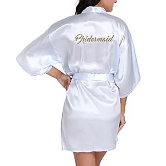 WEIMEITE Batas de Kimono de Satén para Mujer con Dorado Brillo para Dama de Honor Bata de Fiesta Corta: Amazon.es: Ropa y accesorios