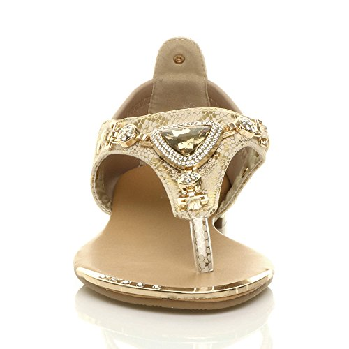 gem Post Womens Jewel Toe Size Flat Snake t Stretch Sandals Diamante Ladies Gold Trim Beige Bar vYXrqvz