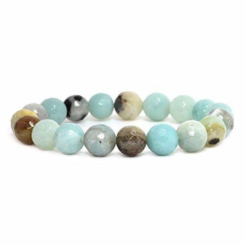 Justinstones Natural Faceted Multi-color Amazonite Gemstone 10mm Round Beads Stretch Bracelet 7
