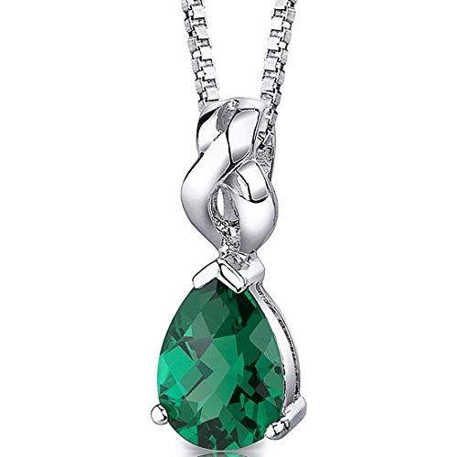 Simulated Emerald Pear Shape Pendant Sterling Silver Rhodium Nickel Finish