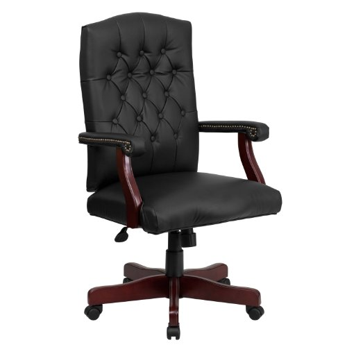 Flash Furniture Martha Washington Black Leather Executive Swivel Chair with Arms