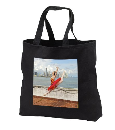 Kike Calvo Dance - Ballerina dances and leaps next to the Pacific Ocean, with the city of Panama on tha background - Tote Bags - Black Tote Bag JUMBO 20w - Panama Shopping Beach City