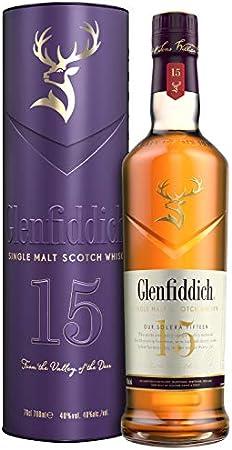 Glenfiddich Whisky escocés de malta,15 años, estuche regalo edición limitada botella 700 ml