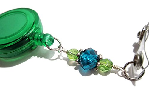 Teal Beaded Badge Reel, Beaded Lanyard Pull, Retractable Id Badge Holder, Beaded 3 ()