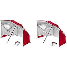 Sport-Brella 8-Foot Portable Sun Tent Shelter Umbrella Canopy, Red (2 Pack)
