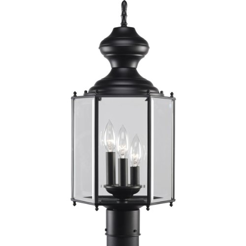 Progress Lighting P5432-31 3-Light Post Lantern, Black - 31 Three Light