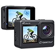 Crosstour Action Camera, 4K Underwater EIS WiFi Dual Screens Remote Control 24MP Ultra HD Touch Screen Camera with LDC…
