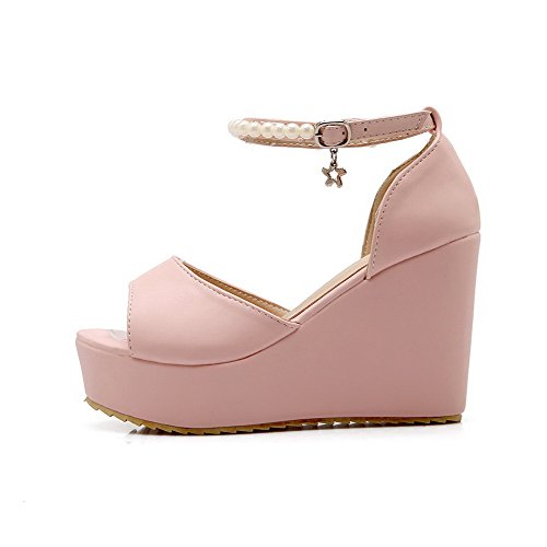 Solid Buckle High Toe Womens Pink AmoonyFashion Open Sandals Heels Pu HaxqgXvwP