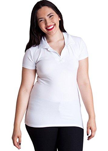 Woman White Plus Size Short Sleeve 3 Button Cotton Polo Shirt