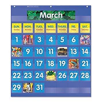- Scholastic 511479 Monthly Calendar Pocket Chart 25 1/2 x 10 x 0.13 Blue/Clear