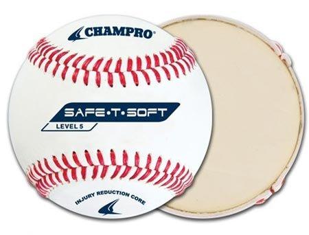 Champro Safe-T-Soft Level 5 Baseball (White, 9-Inch) Pack of -