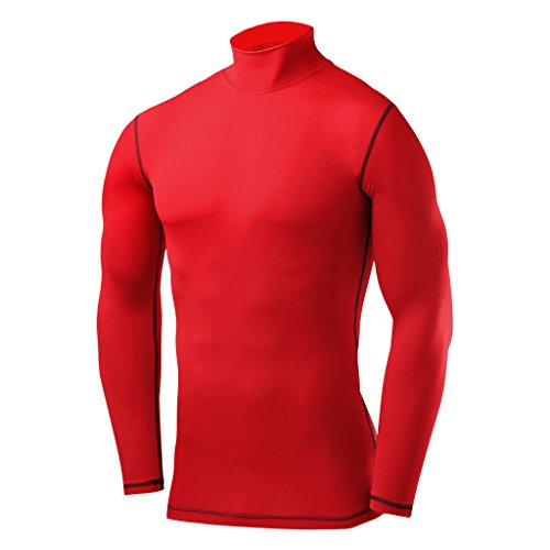 PowerLayer Men's Boys Compression Shirt Long Sleeve Base Layer Thermal Top - Mock Neck - Red Large ()