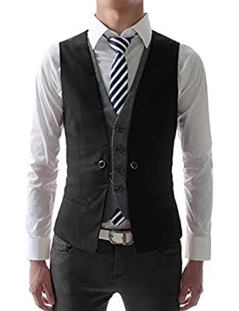 (VE34) TheLees Mens premium layered style slim vest waist coat Black US L(Tag size 2XL)