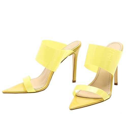 Vivi Fashion High Heel Pointed Yellow Clear Stiletto Sandals Slip on Dress Shoes for Women Size - Sandals High Unique Heel