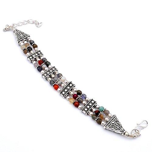 Latest Design Handmade Jewelry! Fancy Multi-Stone Beads Sterling Silver Overlay Bracelet 7-9