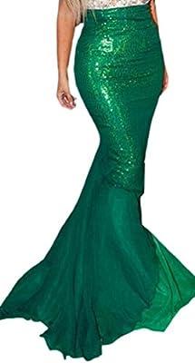 Jaycargogo Women's Mermaid Tail Costume Sequin Maxi Skirt Cosplay Halloween Party Skirt