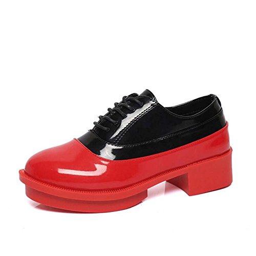 Angelliu Donna Retrò Punta Tonda In Pelle Con Tacco Medio Scarpe Stringate Sneakers Nero Rosso