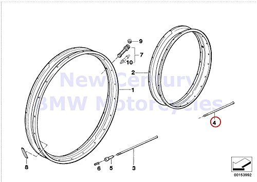 5 x BMW Genuine Motorcycle Spoke Wheel Rim/Spoke Stainless Steel Spoke L=186MM R1200C R1200C Independent R1200GS R1200GS Adventure (5 Spoke Rims Bmw)