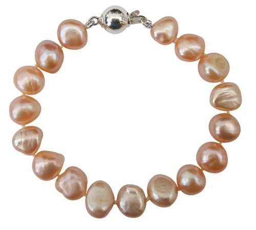 Bridesmaid Soft Peach 9-10mm Baroque Cultured Pearl Bracelet Sterling Silver Ball Clasp, 17Cm 10mm Ball Pearl Clasp