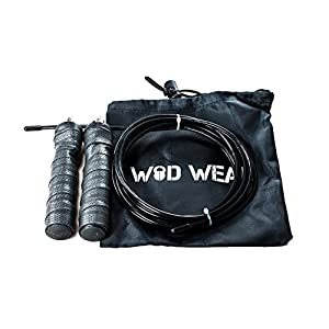 WOD Wear Jump Rope, Speed Rope- Cross Training Fitness Rope, Rubber Handle, Adjustable, Speed Cable, Great for Cross-Training and Double Unders, Rope Bag, 100% (Black)