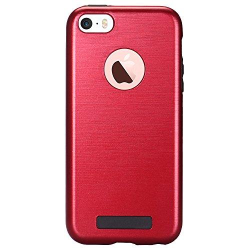 MOONCASE iPhone SE Hülle Brushed Dual Layer Hard PC +TPU Fallschutz Anti-Scratch Case Tasche Schutzhülle für iPhone 5 / 5s / SE Rot