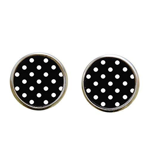 Handmade Earring Black (HandmadePolka Dot earring, Black and White Polka Dot Jewelry, Art earring Black print earring)