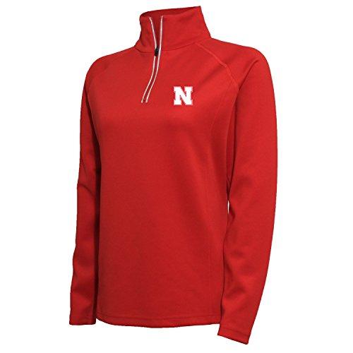 Cornhuskers Women's 1/4 Zip Tech Interlock Pullover, Medium, Red ()