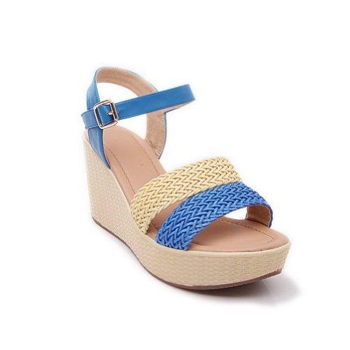 Amoonyfashion Femmes Bout Ouvert Talon Haut Wedge Cuir De Vachette Matière Souple Couleurs Assorties Sandales Bleu